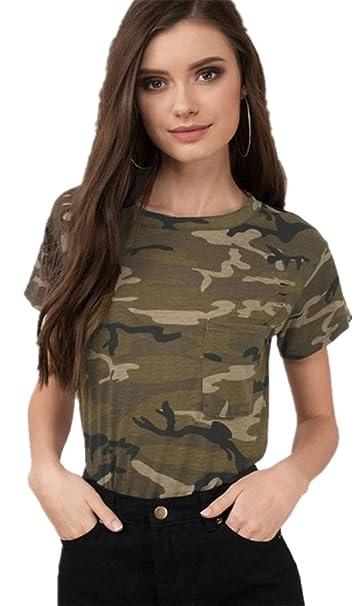 Armee Militär Camo Tarnung Gedruckt Tasche Taschen Vorne Kurzarm T-Shirt Tee  Oberteil Top Grün 4b76437bea