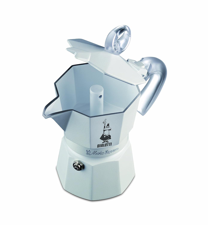 Bialetti 3052 Moka Express Glossy Ceramica - Espressokocher aus Aluminium, weiß lackiert mit Keramikbeschichtung innen für 3 Tassen, weiß weiß 3052_weiss
