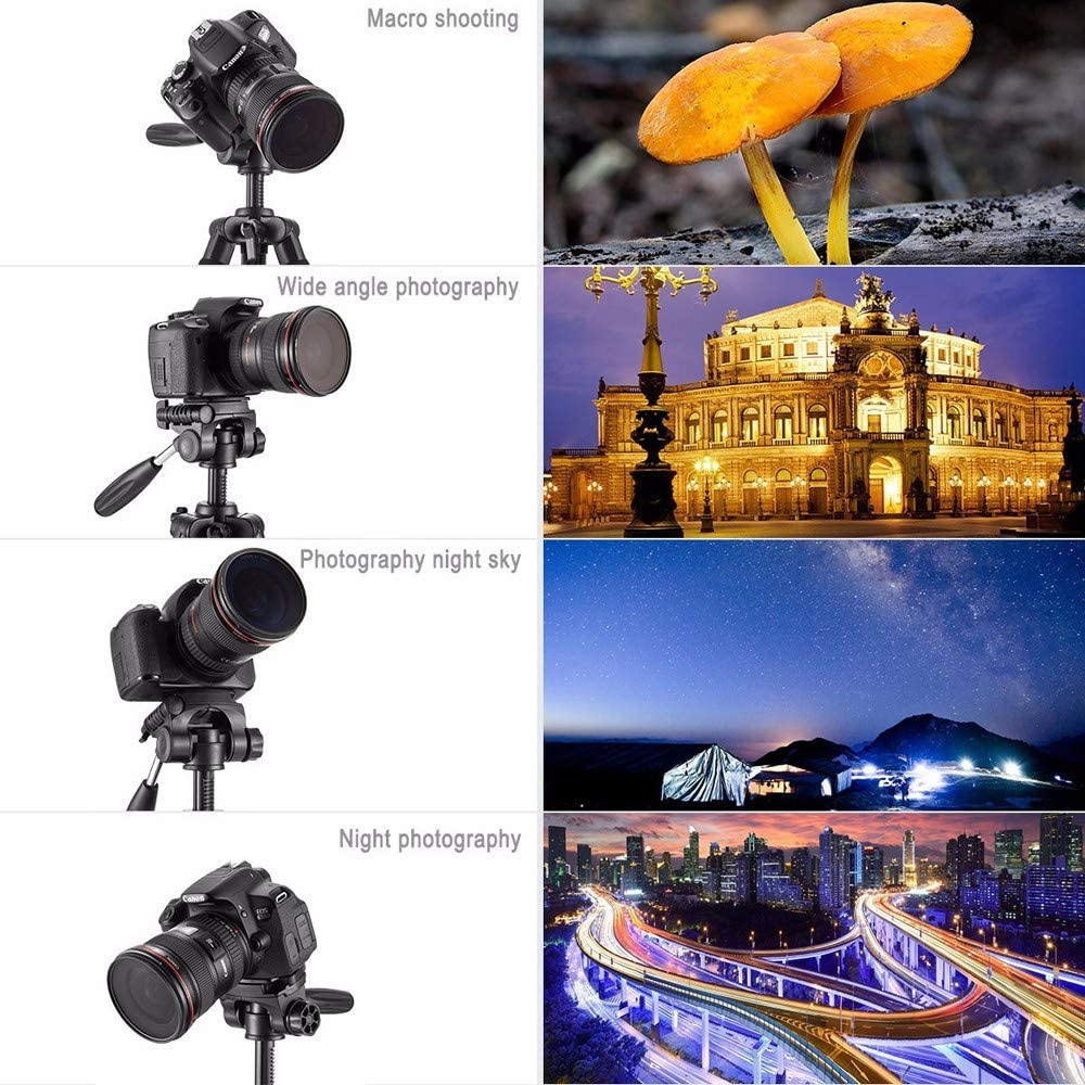 ALWMHWOE Tripod Magnesium Aluminum Alloy Light Weight Portable Camera Tripod Travel Folding Size with Ball Head and Carrying Case