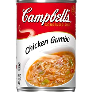 Condensed Soup, Campbell's Chicken Gumbo Mix with Rice and Vegetable, an Instant Heart Healthy Food, Low in Fat and Cholesterol, Homestyle Gumbo Base Soup for the Whole Family, 6 - 10.5 oz cans