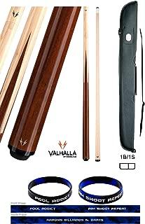 product image for Valhalla VA241 by Viking 2 Piece Pool Cue Stick 4 Splice Point Construction Exotic Wood 18-21 oz. Plus Cue Case & Bracelet (Hustler VA241, 21)