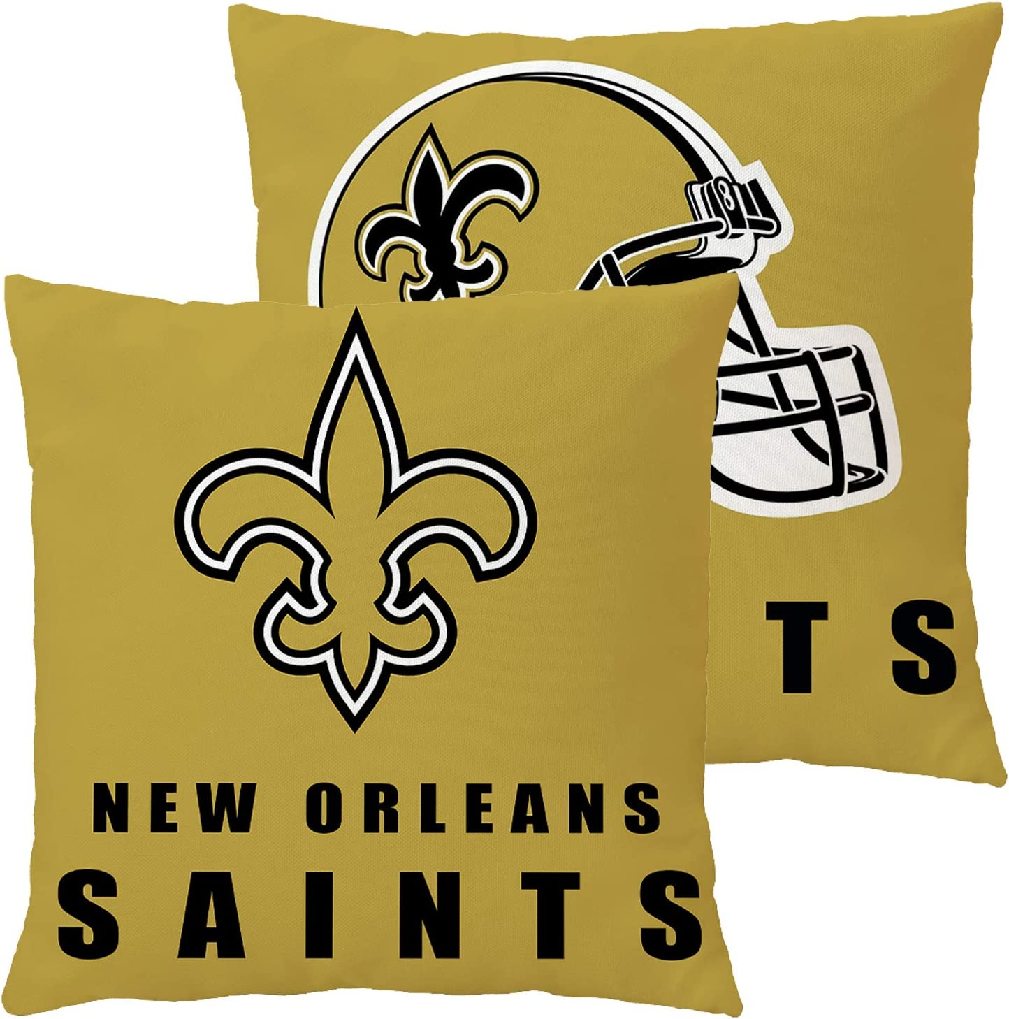 Football Team Throw Pillow Covers Pillow Cases Decorative Pillowcase Double Faced Protecter with Zipper Without Insert 1 pcs for Sofa, Car, Office, Bed, Chair (New Orleans Saints)