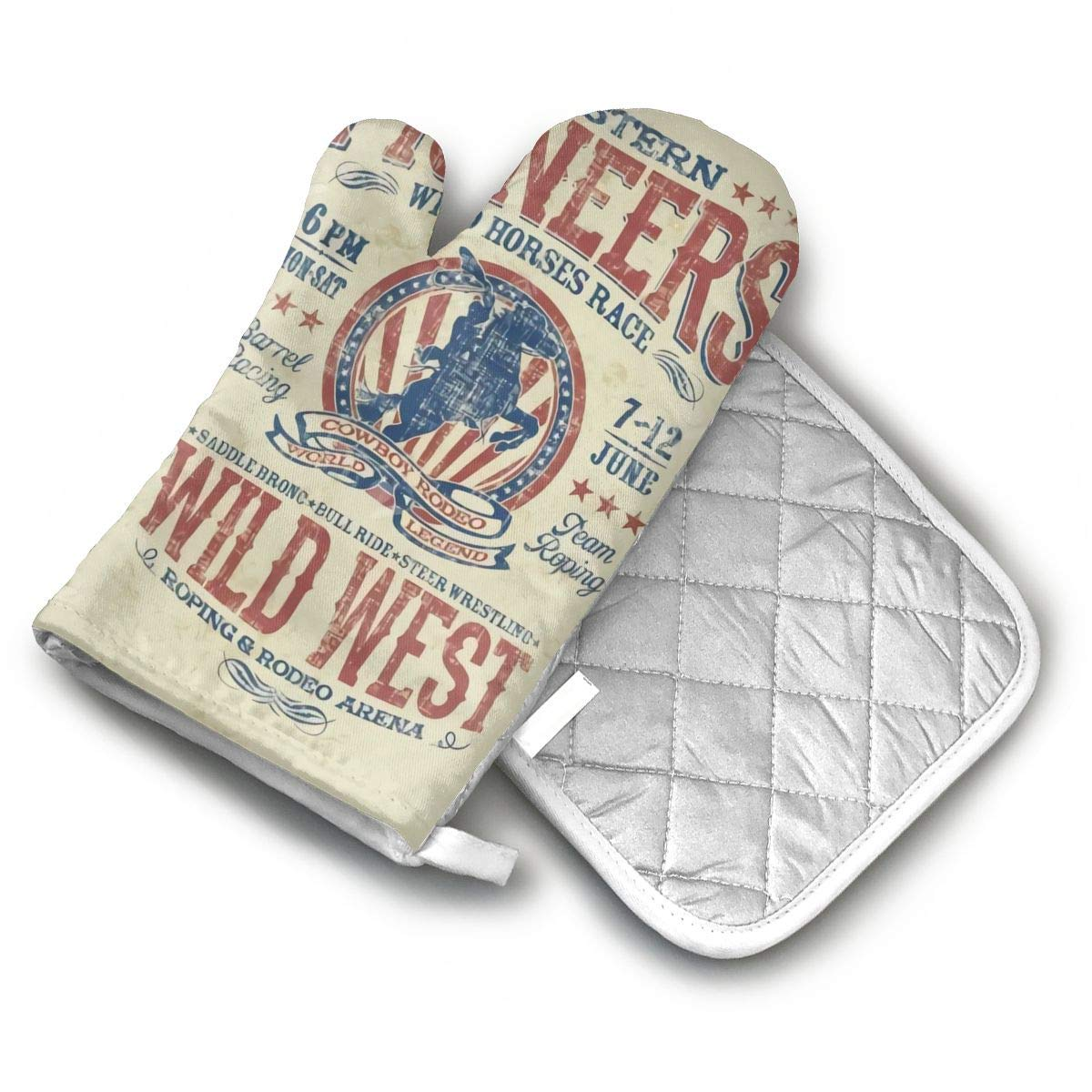 AISDHAJKSD Western Pioneers Rodeo Premium Terylene/Nylon Oven Mitts and Pot Mat,Pot Mat/Hot Pads, Heat Resistant Gloves BBQ Kitchen