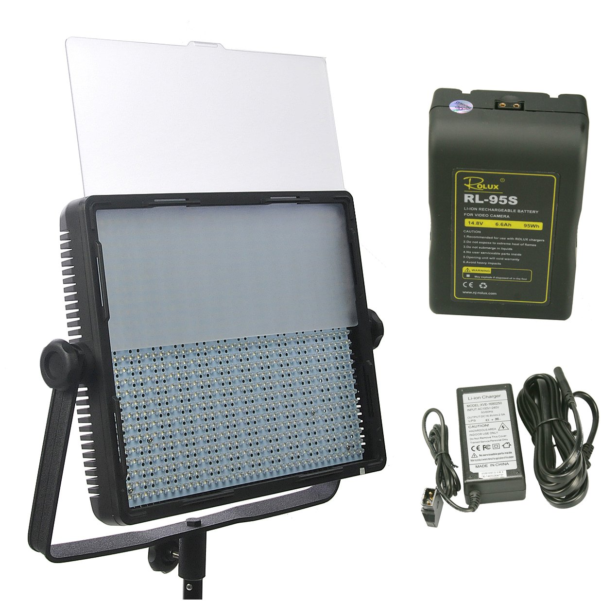 ePhotoInc 900LED Professional Photo Video Studio Photography Lighting Panel with V Mount Battery and Charger CN9SD95 by ePhoto
