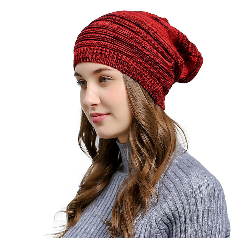 HULKAY Unisex Caps Premium Soft Stretch Pleated Warm Hooded Wool Knitted Hat(WIne) by HULKAY (Image #1)