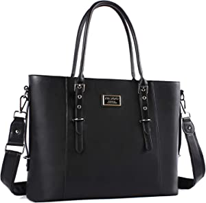 MOSISO PU Leather Laptop Tote Bag for Women (Up to 15.6 inch), Black