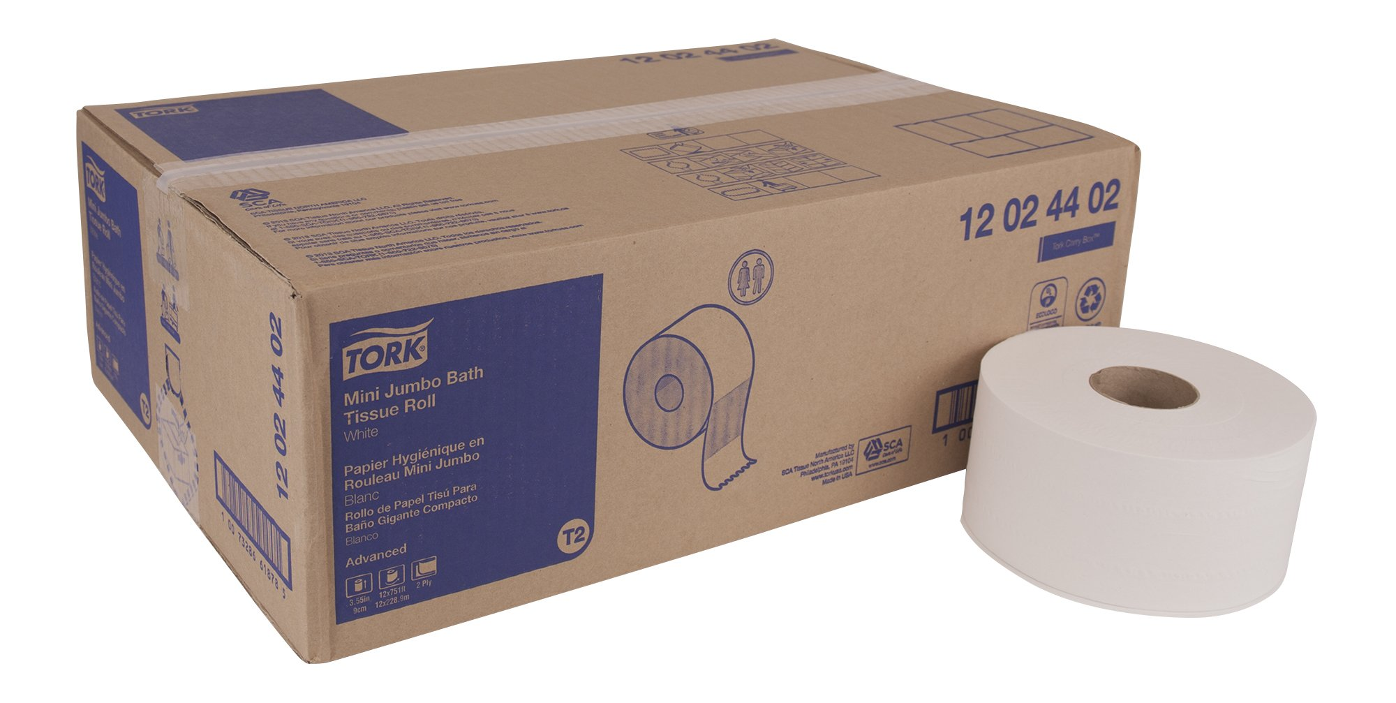 Tork Advanced 12024402 Mini Jumbo Bath Tissue Roll, 2-Ply, 7.36'' Diameter, 3.55'' Width x 751' Length, White (Case of 12 Rolls, 751' per Roll, 9,012 Feet)