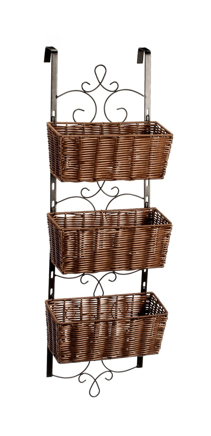 Miles Kimball Over the Door Wicker & Metal Baskets by OakRidgeTM