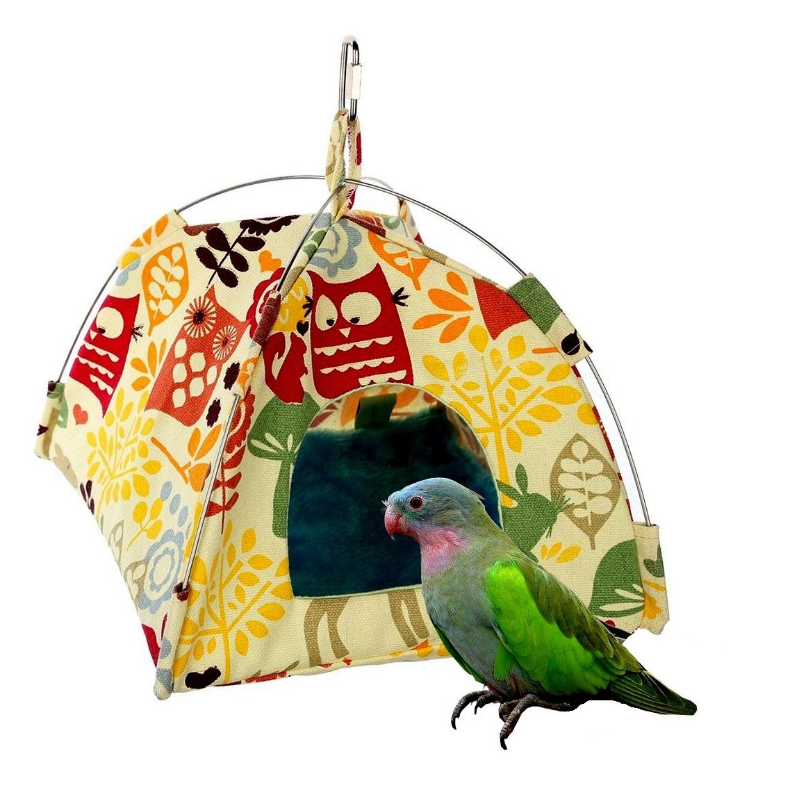 Alwaysuc Bird toys Bird Hammock Parrot Hanging Tent Budgerigar Dual Layer Nest Parakeet Cave Tent for Medium Birds