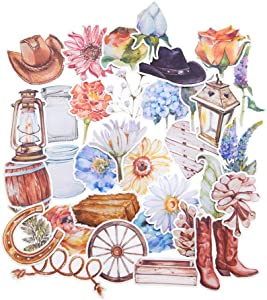 Yummy Bun Watercolor Stickers for Waterbottles/Retro Stickers for Laptops/Western Cowboy Stickers for Art, Craft,Scrapbooking, Greeting Cards Decoration, Birthday Party Favors-34 Pieces