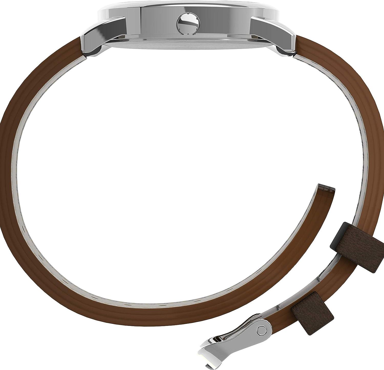 Timex Easy Reader Day-Date Leather Strap Watch Dark Brown/Silver-Tone