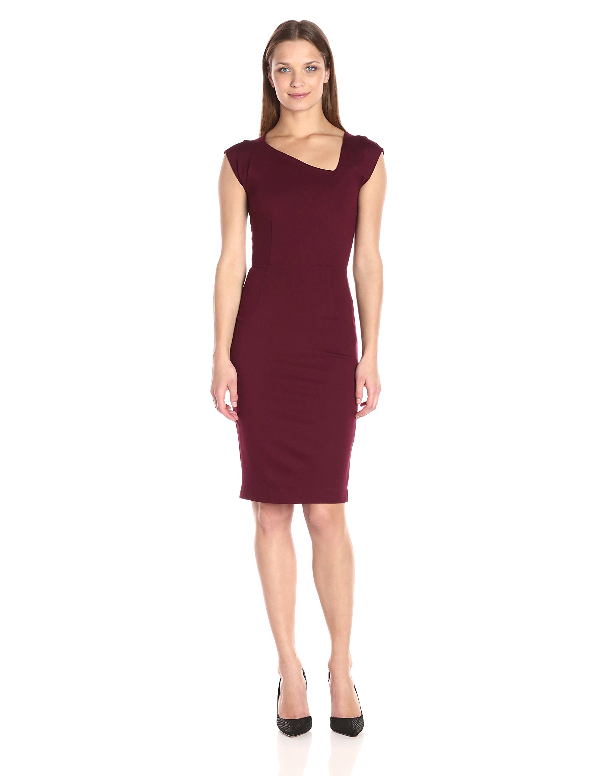 French Connection Women's Lula Stretch Asymmetrical Neck, Biker Berry, 0 by French Connection