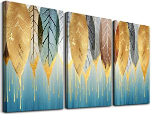 Fashion Wall Art for Living Room Family Wall Decor for Bedroom Modern Wall Decorations for Kitchen Canvas Art Golden Leaves Abstract Paintings Bathroom Hang Pictures Artwork Home Decoration 3 Pieces