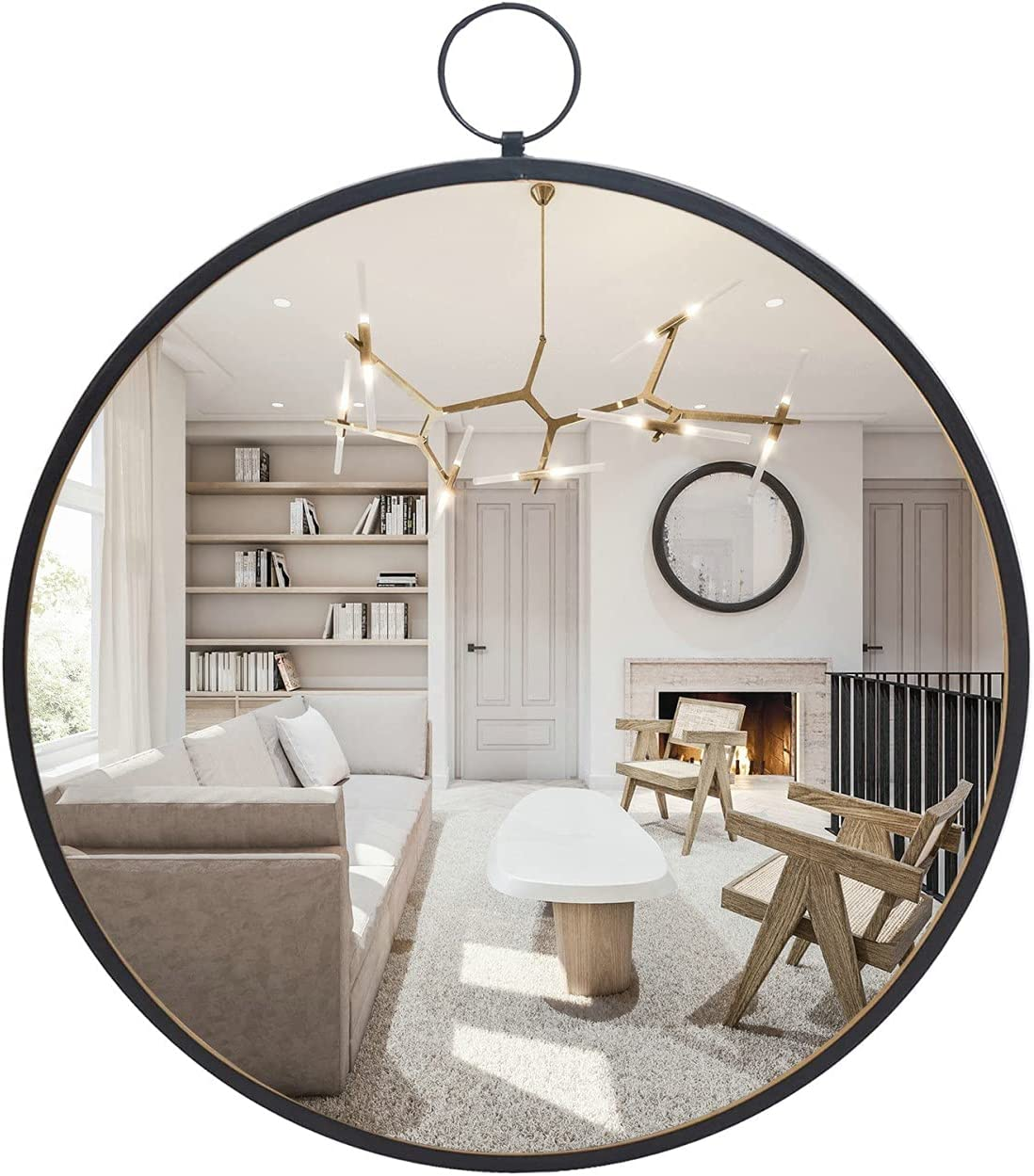 Amazon Com Black 20 Round Wall Circle Mirror With Metal Frame For Bathroom Bedroom Living Room Dining Room Wall Decor Kitchen Dining