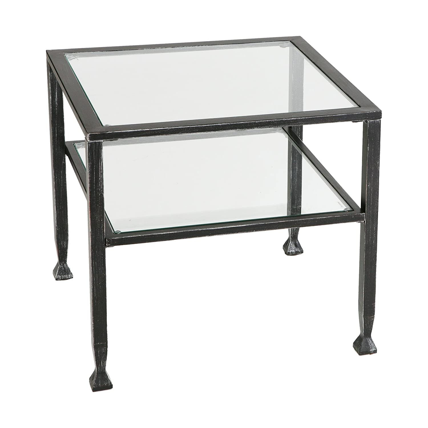 Amazon bunch metal cocktail coffee table with glass top amazon bunch metal cocktail coffee table with glass top black finish kitchen dining geotapseo Images