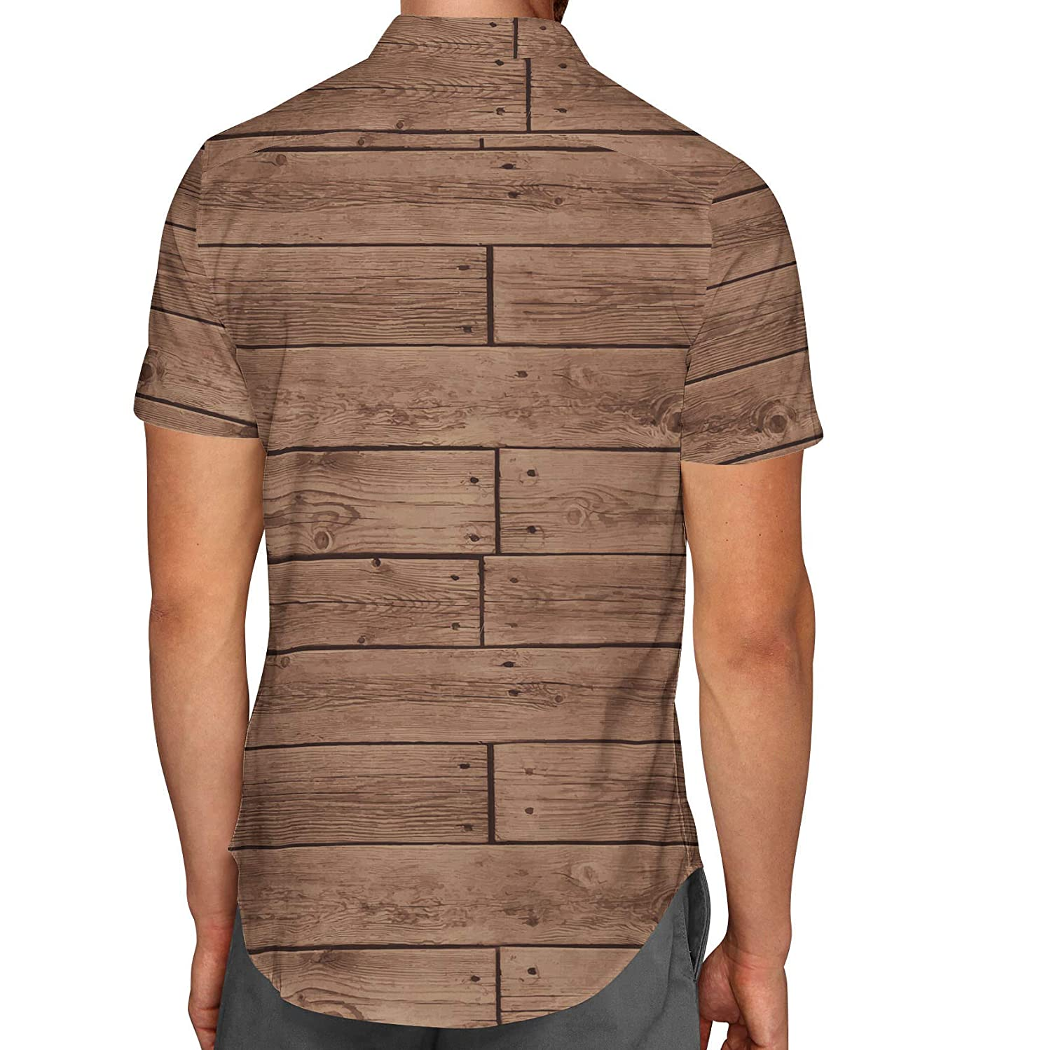 Queen of Cases Reclaimed Floorboards Wood Pattern Mens Button Down Short Sleeve Shirt