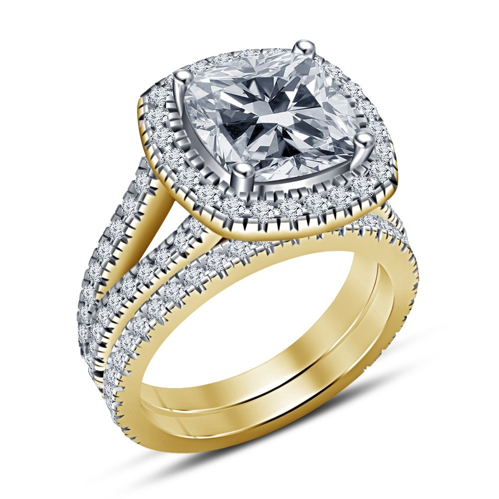 TVS-JEWELS 925 STERLING SILVER 14K GOLD PLATED SOLITAIRE WITH ACCENTS CELEBRITY STYLE RING SET FOR ANNIVERSARY GIFT (8.5)