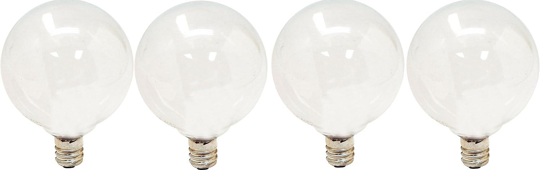 GE Lighting Soft White 47630 40-Watt, 290-Lumen G16.5 Light Bulb with Candelabra Base, 4-Pack