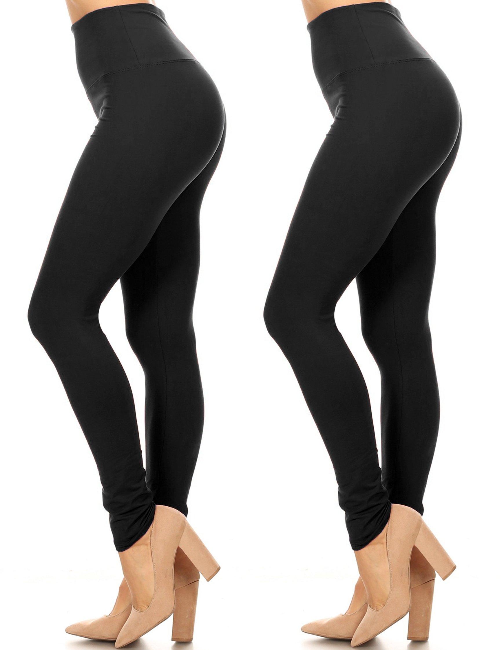 Leggings Mania 2-PK Solid Full Length Extra Wide Band Leggings Plus OneSize BlkBlk