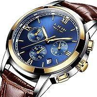 Relojes para Hombre, LIGE Impermeable Deportes Cronógrafo Analógico Cuarzo Reloj de Pulsera Azul Dial Calendario Hombres Negocios Casual Lujo Relojes de Pulsera Oro Azul