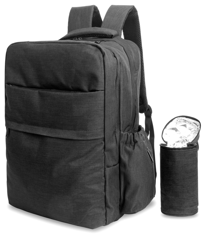 folur pañal Mochila bolsa de pañales Mummy Cambio mochila bolso de mano multifunción bolsos de viaje con bolsa térmica y correas para el carrito negro negro