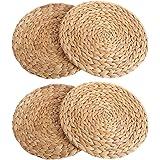 UIMNJHUKE Natural Water Hyacinth Weave Placemat Round Braided Rattan Tablemats(4-Piece Diameter: 7inch)