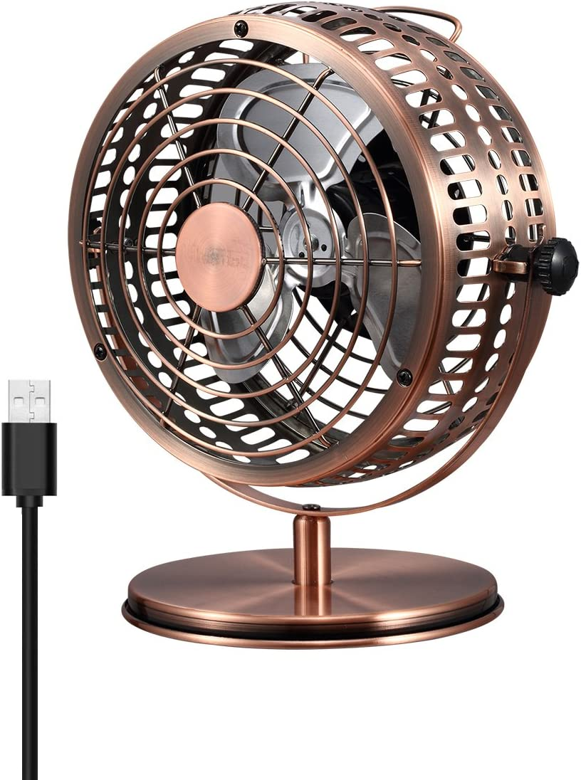 USB Retro Desktop Metal Blades Cooling Fan with 135 Degree Rotation.Perfect for Laptop Notebook PC Desk Table Fan – Metal Bronze.