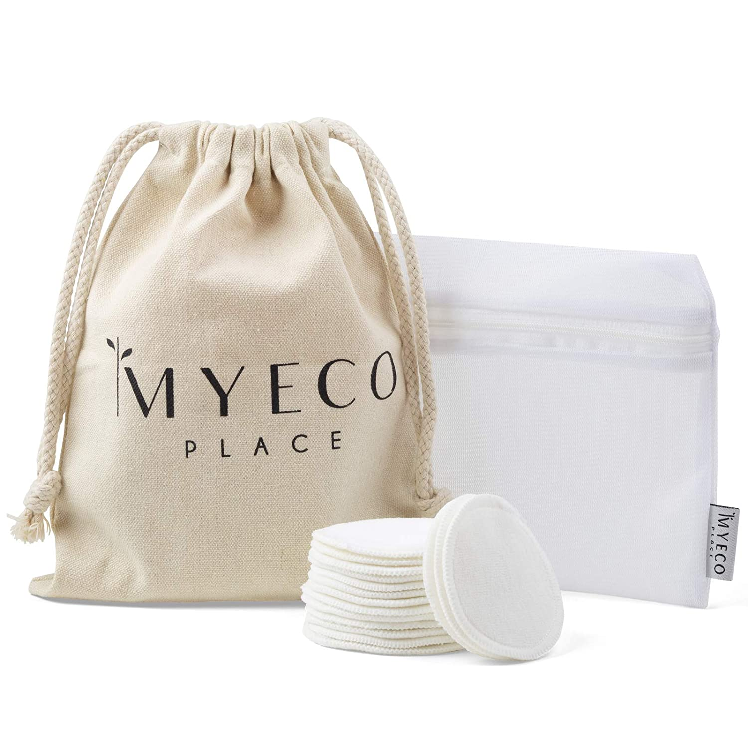 Myeco Place Organic Bamboo Reusable Makeup Remover Pads - 16 Pack with Laundry and Cloth Travel Bag - Chemical Free, Skin and Facial Pads - The Eco Friendly Cotton Round Alternative