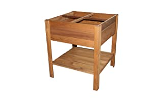 EKJU 253394-02 FSC Four sextion Vegetable Rised Bed Free stnading with Shelf, 4-Sections, Pressure Treated Brown