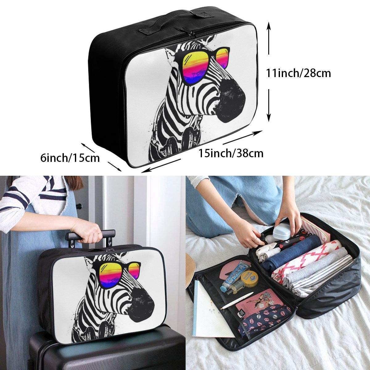 Lightweight Large Capacity Portable Duffel Bag for Men /& Women Cool Zebra With Sunglass Travel Duffel Bag Backpack JTRVW Luggage Bags for Travel