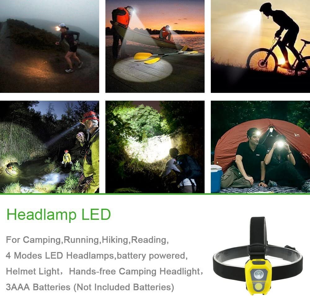 4xWhite TOMOL 4-Pack LED Headlamp 3W Super Bright COB Flashlight for Running