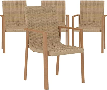 Amazon Com Cosco Outdoor Stacking Dining Patio Chairs 4 Pack Aluminum Tan Furniture Decor