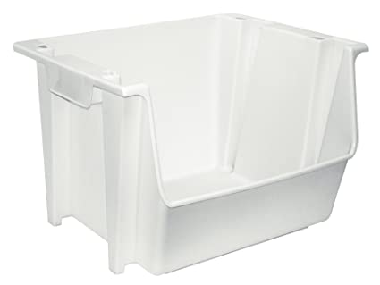 United Solutions SB0041 Large Plastic Nesting/Stacking Rough And Rugged Storage  Bin In White