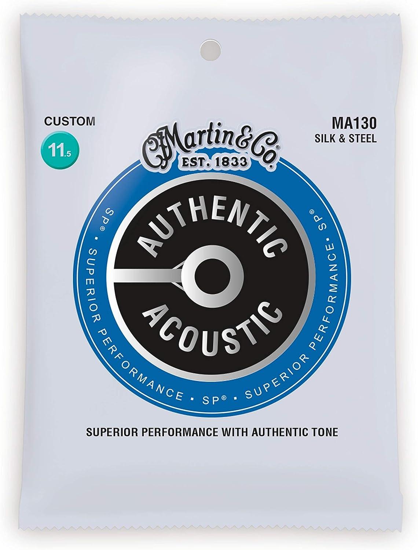 Martin Authentic Acoustic MA130 Custom-Gauge Acoustic Guitar Strings, Silk and Steel Folk