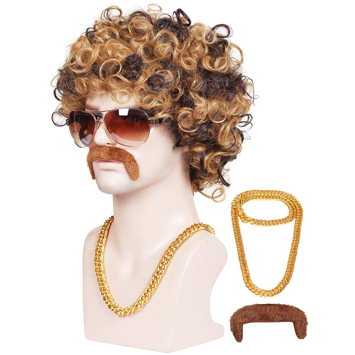 ColorGround 3-Pieces Chain and Moustache and Short Curly Wig for High-end 70'S Disco Party by ColorGround