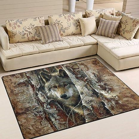Amazon.com: Alfombra de área artística de Wolfs, 4.0 x 6.0 ...