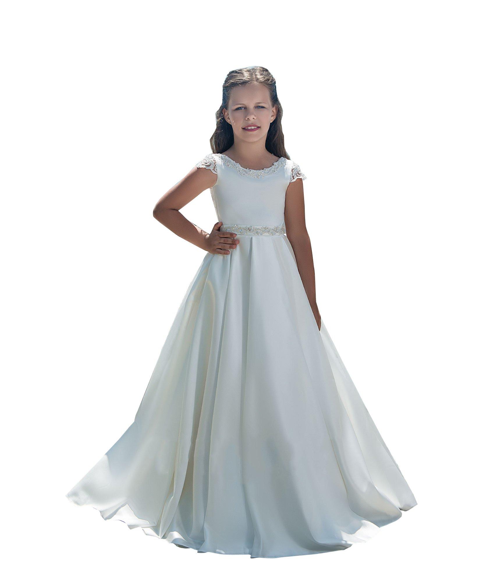 kelaixiang Flower Girl Dress Satin For Wedding Party Formal Dresses Kids Princess White