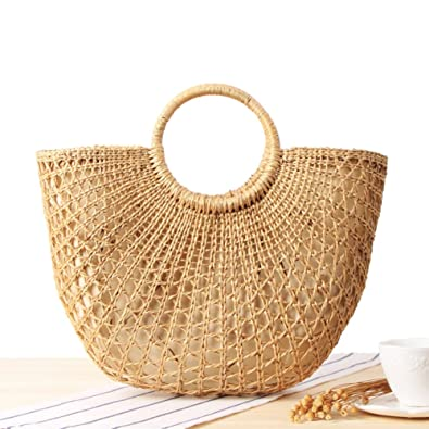 d44122526d Outdoor Beach Bag Yellow Grass Cutout Braided Straw Hand-woven Round Handle  Retro Large Casual Summer Shopping Handbag  Amazon.co.uk  Shoes   Bags