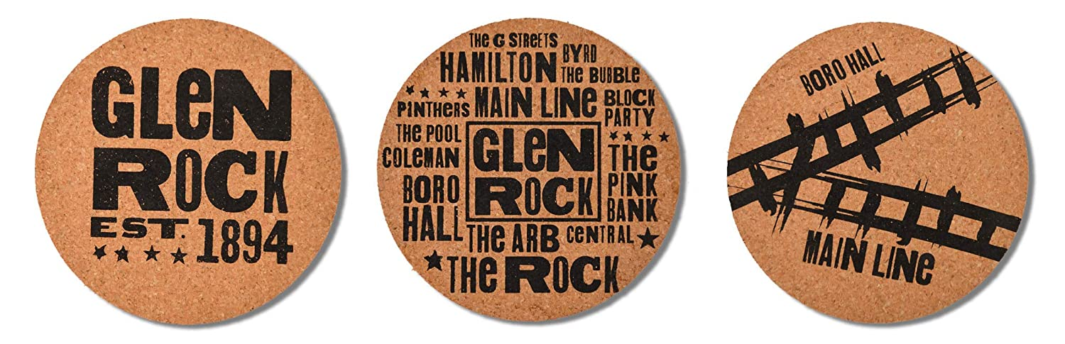 Absorbent and sustainable cork 6 designs 2 of each Each coaster is 1//4 thick and 4 round. Set of 12 Glen Rock Coasters