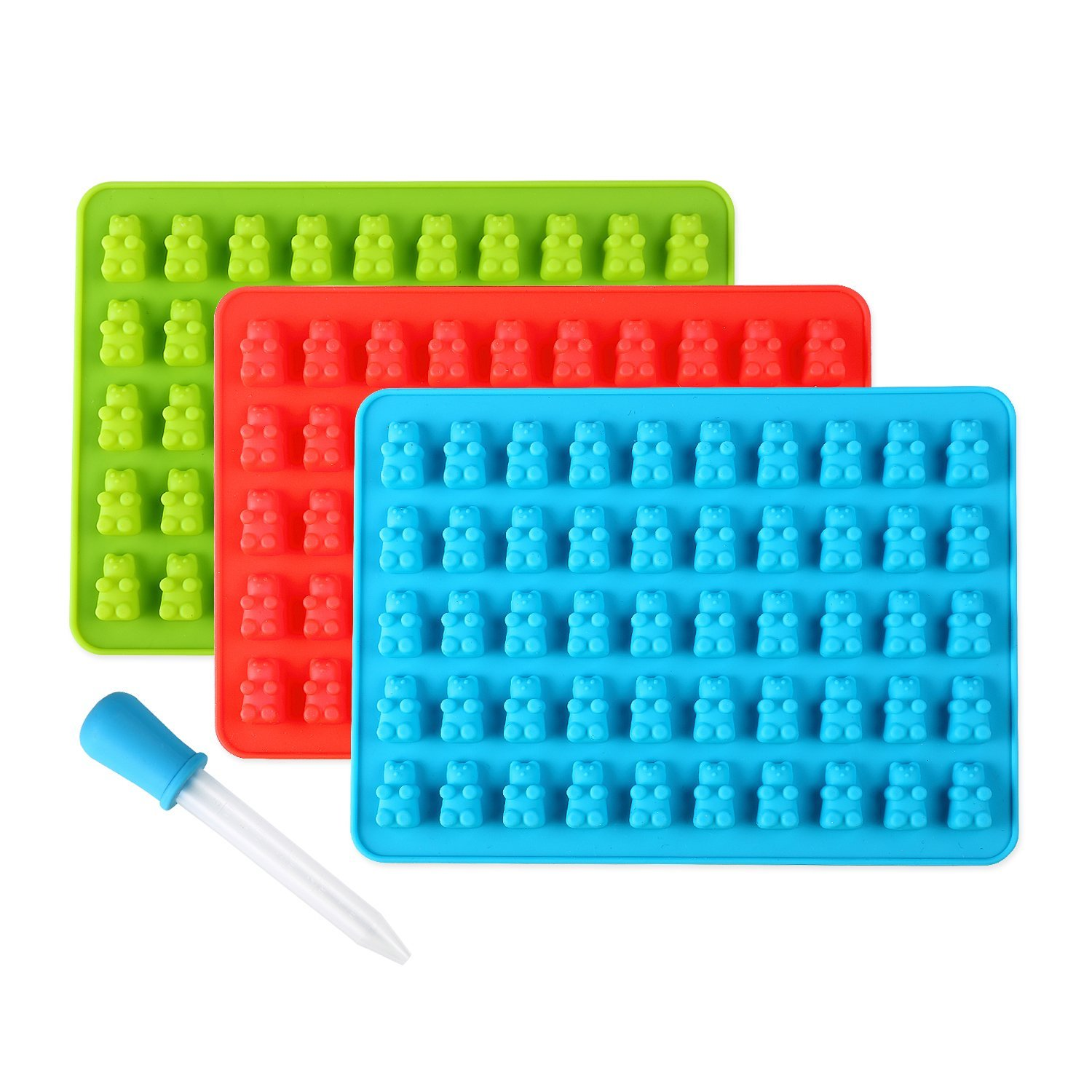 Lizber Gummy Bear Molds 3 Pack, Silicone Candy Molds 50 Cavities with Bonus Dropper, FDA Approved (Blue, Green, Red)