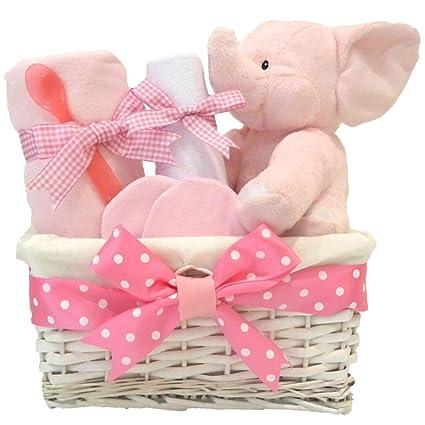 Mi primer oso elefante bebé niña cesta de regalo/cesta/bebé Baby ...