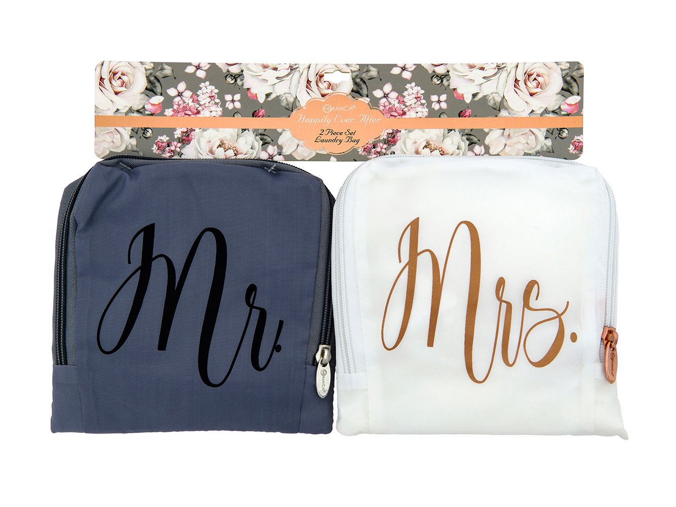 Miamica Mr. and Mrs. Bridal Travel Laundry Bag, Gray and White