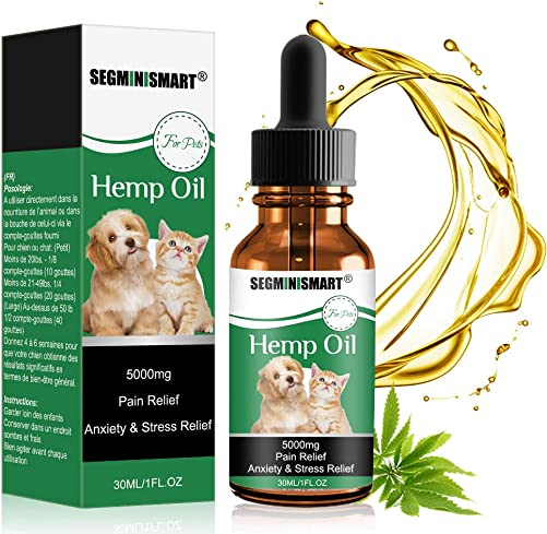SEGMINISMART Hemp Oil for Dogs Cats,Pets Hemp Oil 5000mg Separation Anxiety Relief,Joint Pain,Stress Relief, Arthritis, Sleep and Treats Skin