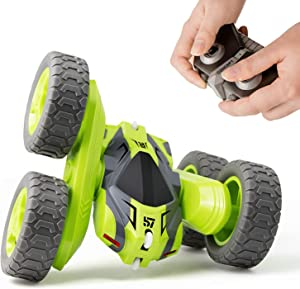 Tecnock Remote Control Car for Kids,360 ° Rotating Double Sided Flip RC Stunt Car,2.4Ghz 4WD Toy Car with Rechargeable Battery for 45 Min Play,Great Gifts for Boys and Girls(Green)