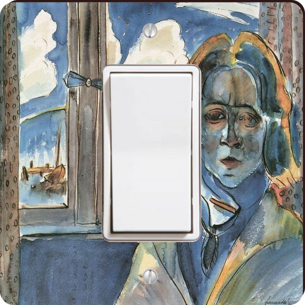 Rikki Knight 3172 Single Rocker Walter Gramatte Art Girl At The Window Design Light Switch Plate