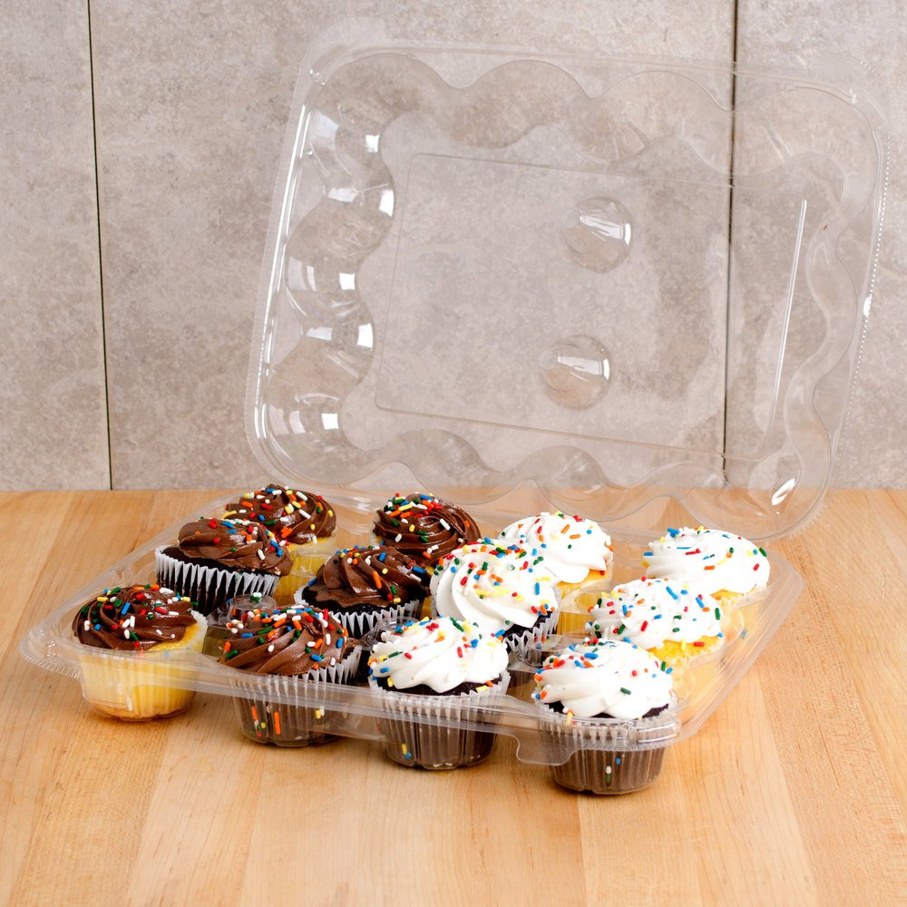 12-Compartment Cupcake Container with Hinged Lid, Clear (100, 12- Compartment) by The Bakers Pantry (Image #6)