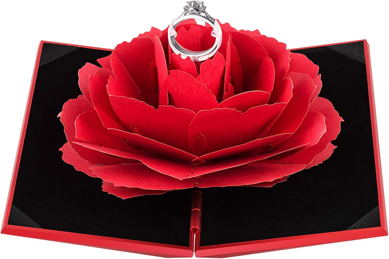 Rose Flower Flocking Ring Box Wedding Valentine Gift Packing Case with Rod