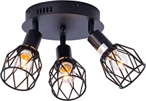 Industrial Semi Flush Mount Ceiling Light, 3-Light Multi-Directional Ceiling Light Fixtures, Vintage Black Metal Wire Cage Farmhouse Pendant Lighting for Kitchen Dining Room Hallway Porch Bedroom E26