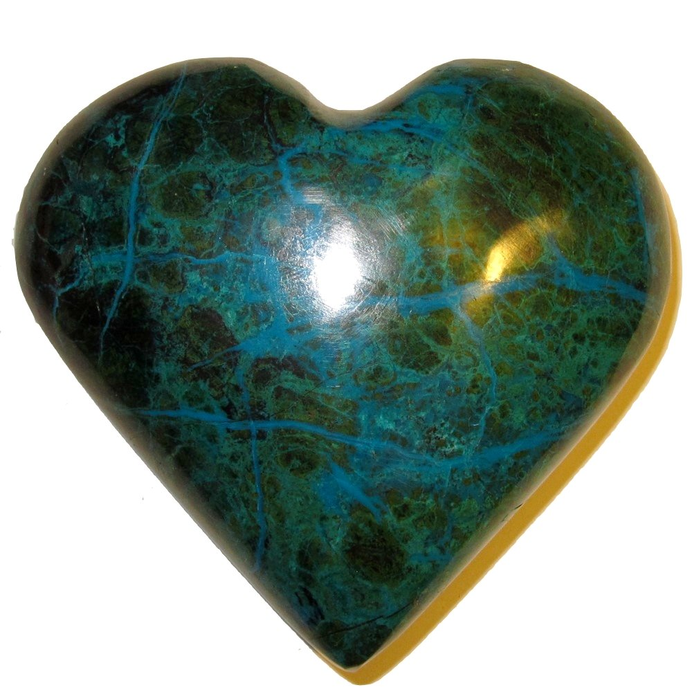 Chrysocolla Heart 05 Big Plump Natural Peruvian Turquoise Crystal True Love Anniversary Valentines 3.2'' by SatinCrystals (Image #2)