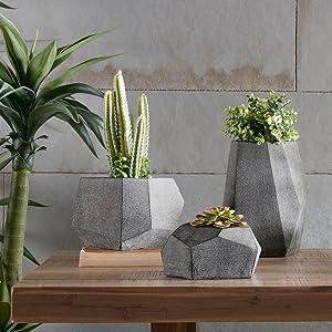 Geometric Modern Concrete Planter Pots , Gray Vases Home Decor Accents , Set Of 3 Decorations For Living RoomÊ